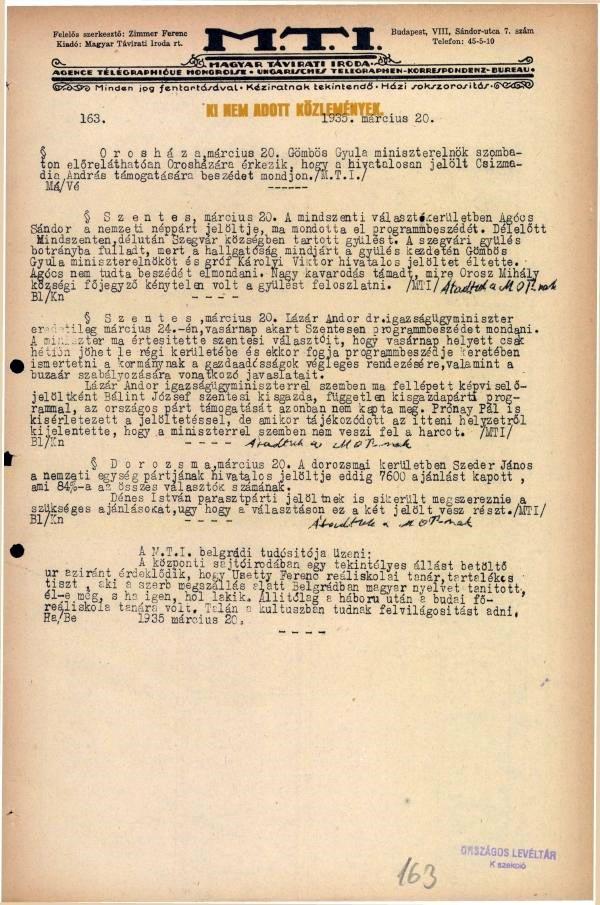 Botrány a szegvári választási gyűlésen – 1935. március 20.