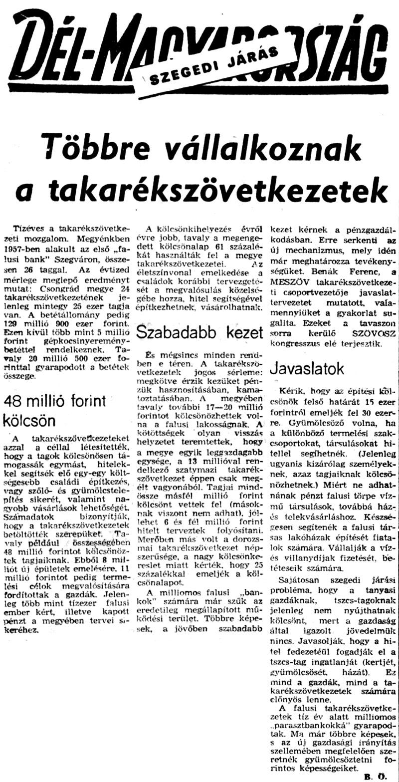 Többre vállalkoznak a Takarékszövetkezetek – 1967.
