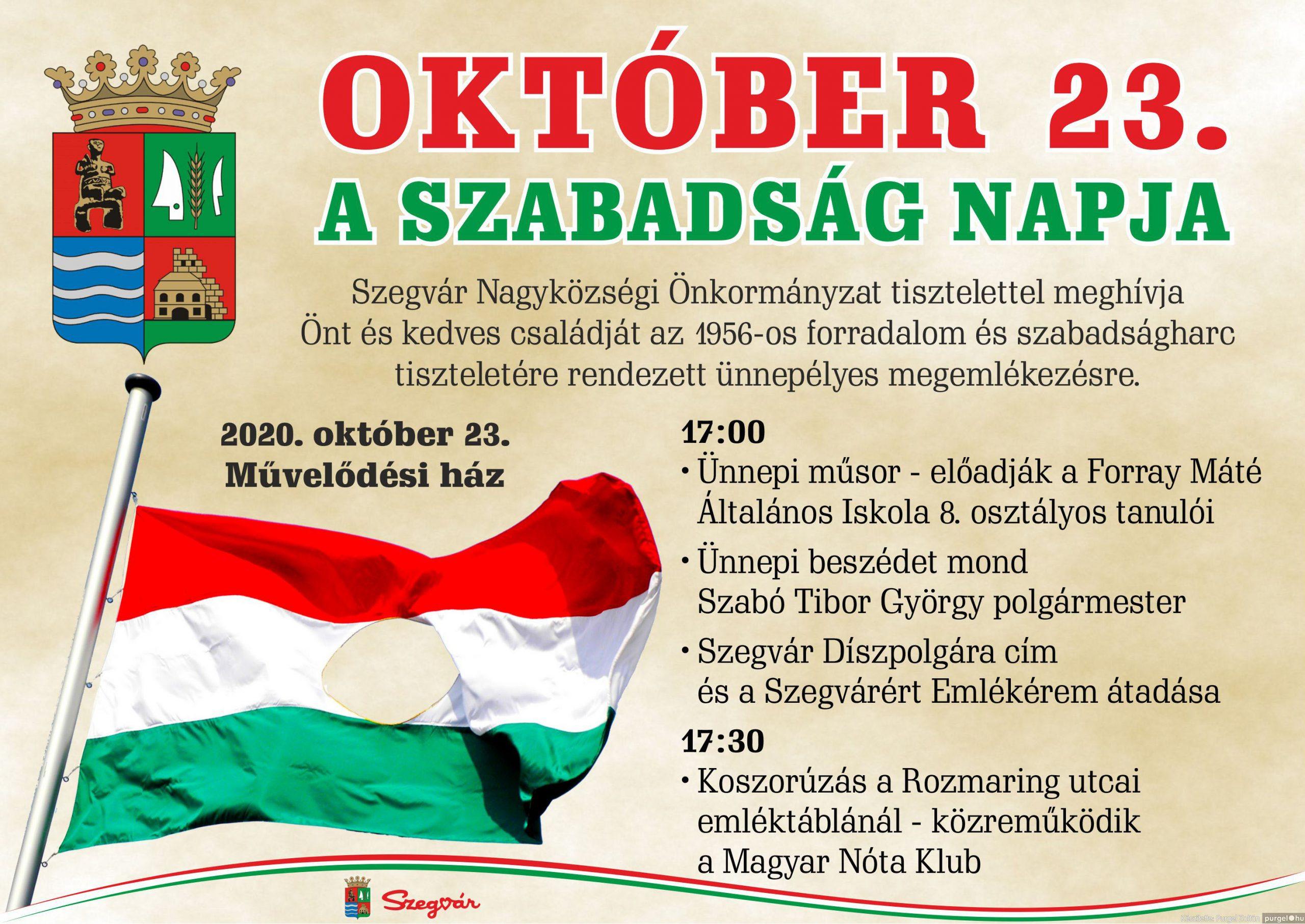 Október 23-i ünnepség Szegváron