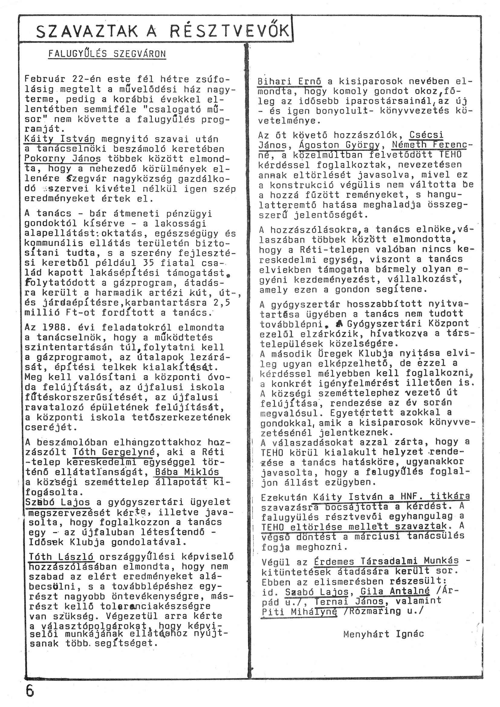 Szegvári Napló 001. lapszám – 1988. – 06. oldal – Digitalizá
