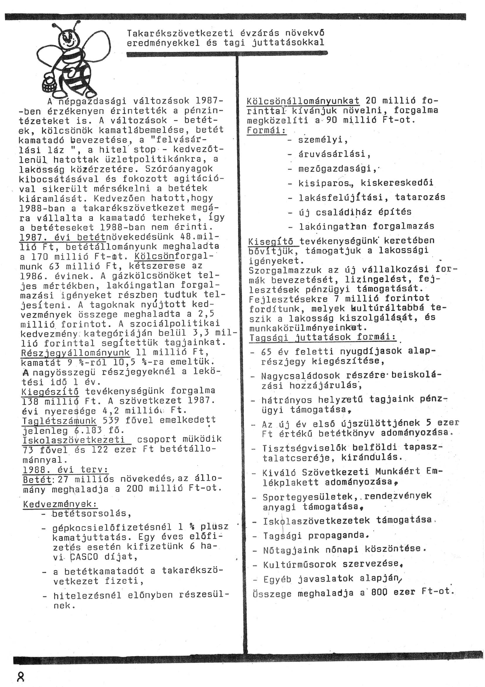 Szegvári Napló 001. lapszám – 1988. – 08. oldal – Digitalizá