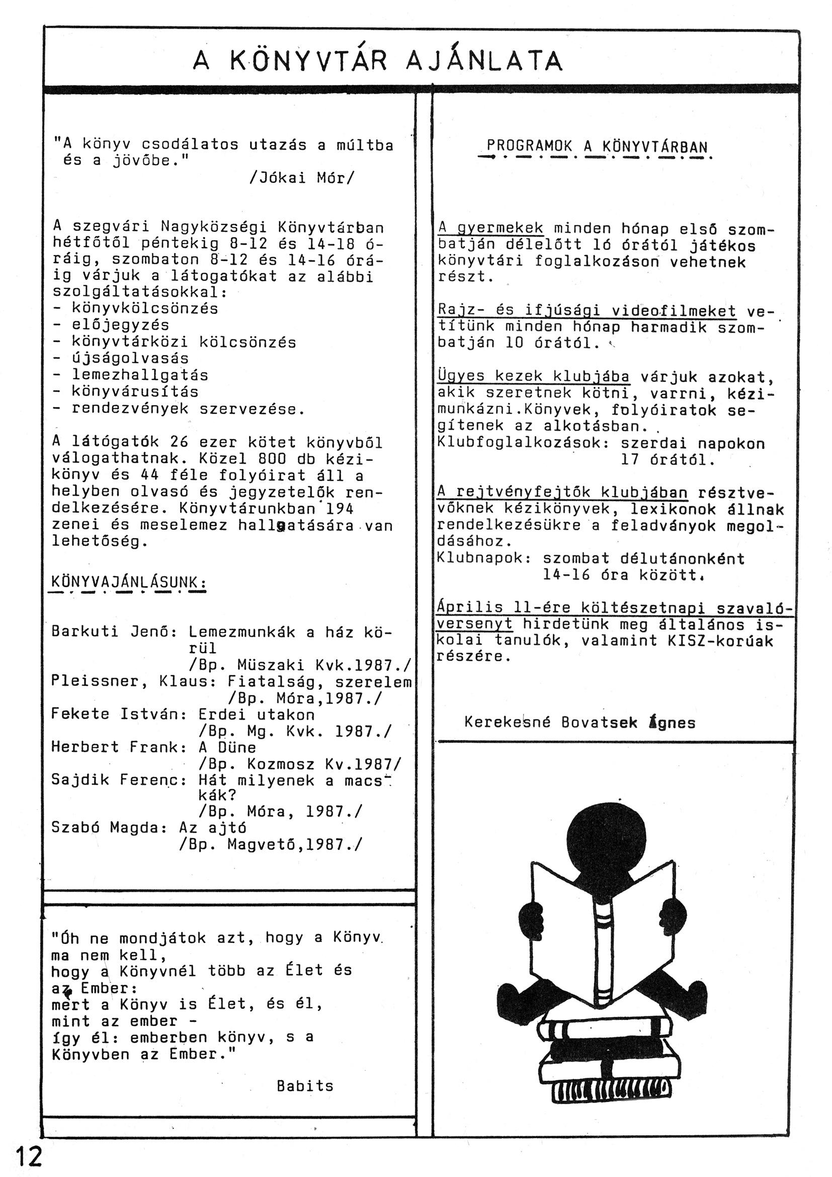 Szegvári Napló 001. lapszám – 1988. – 12. oldal – Digitalizá