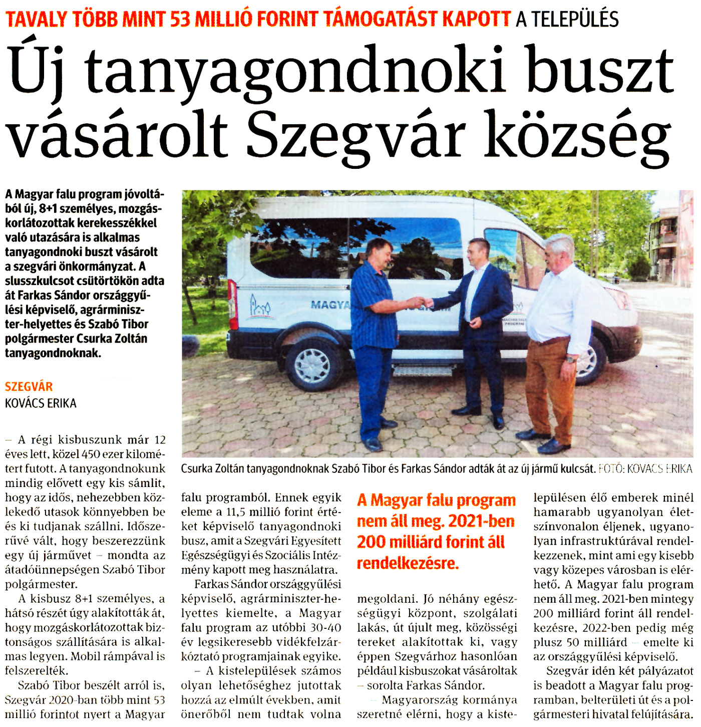 Új tanyagondnoki buszt vásárolt Szegvár község