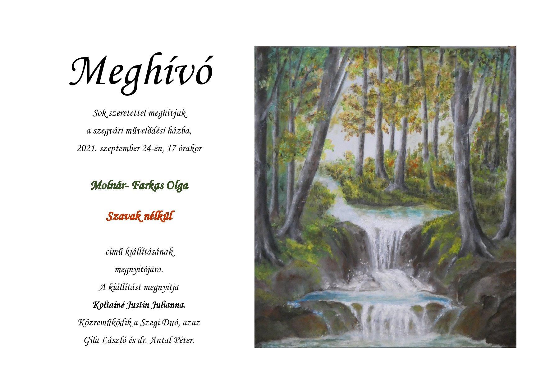 Meghívó Molnár-Farkas Olga kiállítására