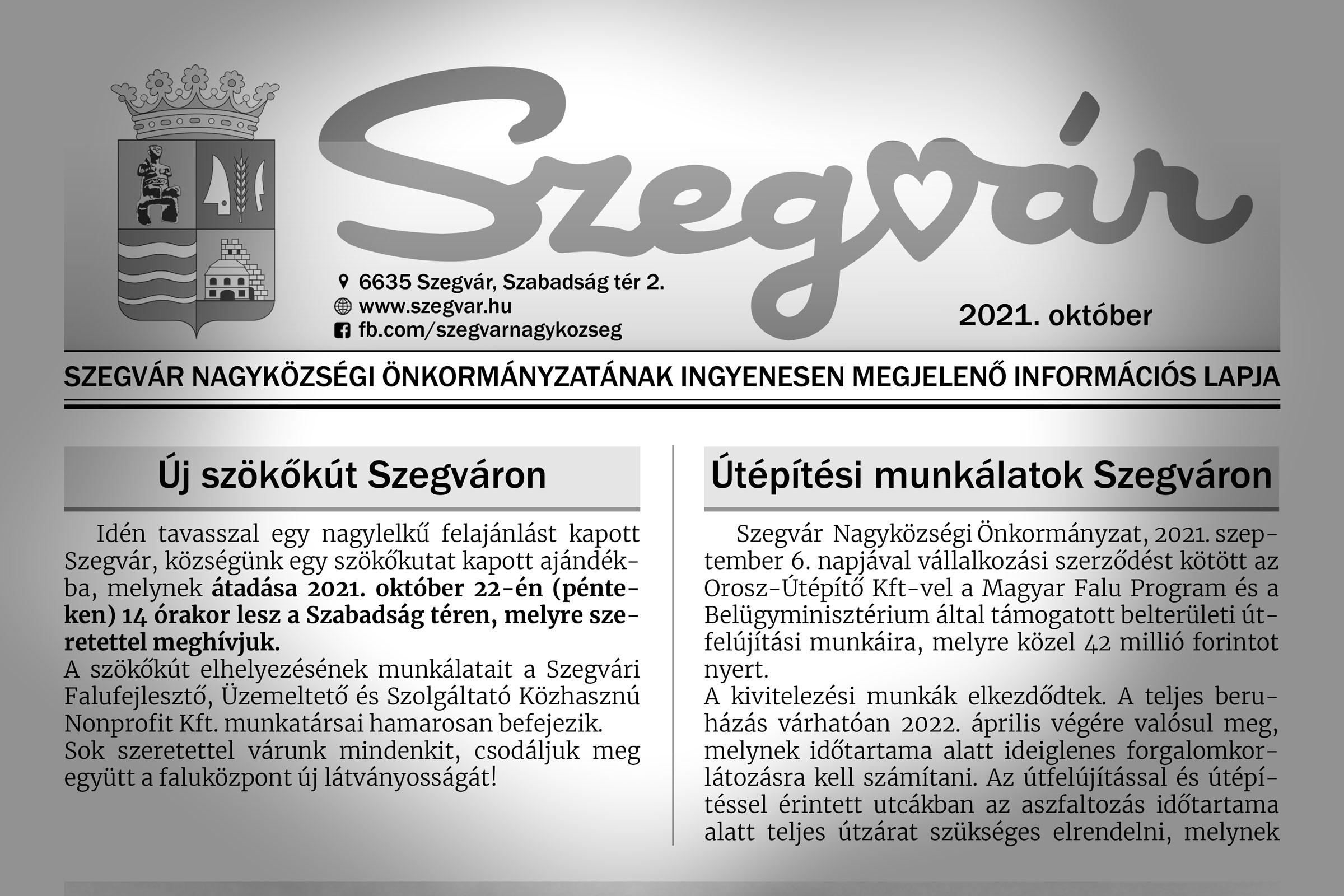 Megjelent a Szegvár újság októberi lapszáma